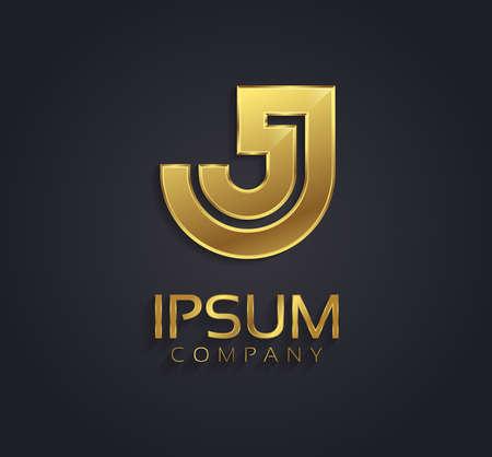 letter j: Beautiful vector graphic gold alphabet letter J symbol