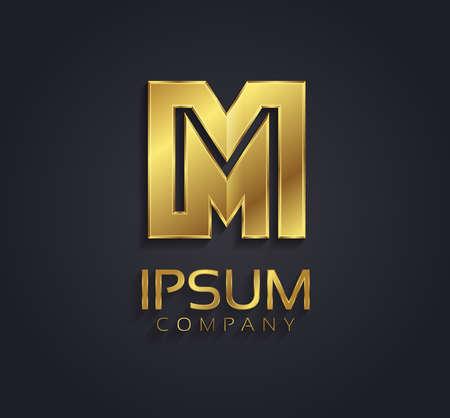 m: Beautiful vector graphic gold alphabet letter M symbol Illustration