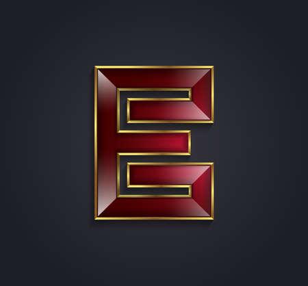 rim: Beautiful vector graphic ruby alphabet with gold rim  letter E  symbol
