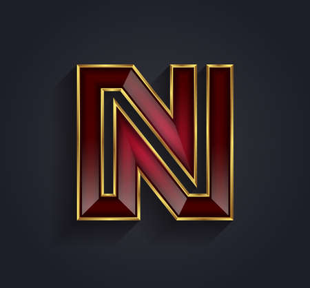 letter n: Beautiful vector graphic ruby alphabet with gold rim  letter N  symbol