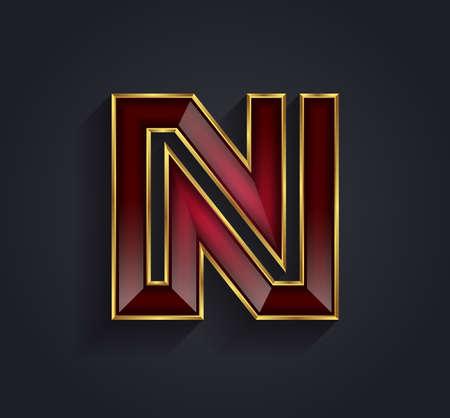 letras de oro: Vector hermoso gr�fico rub� alfabeto con borde de oro  letra N  s�mbolo