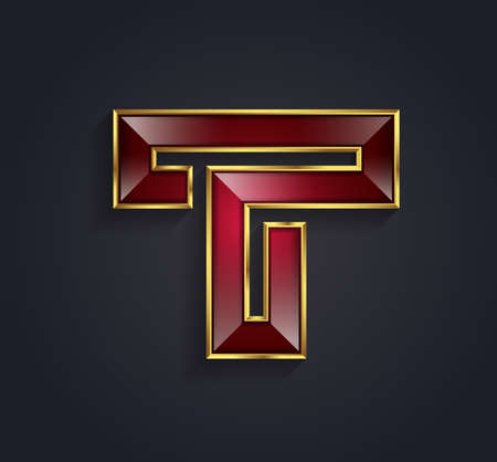 Prachtige vector grafische ruby alfabet met gouden rand  letter T  symbool