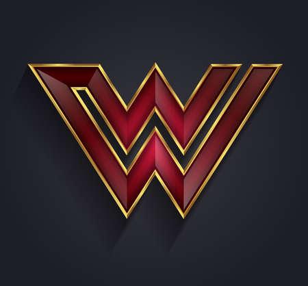 rim: Beautiful vector graphic ruby alphabet with gold rim  letter W  symbol Illustration