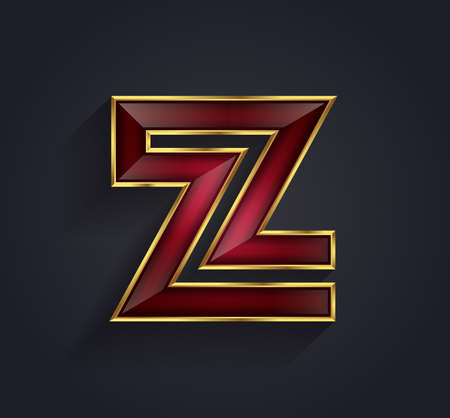 rim: Beautiful vector graphic ruby alphabet with gold rim  letter Z  symbol