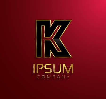 rim: Beautiful vector graphic black alphabet with gold rim  letter K  symbol