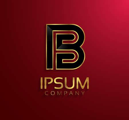 rim: Beautiful vector graphic black alphabet with gold rim  letter B  symbol