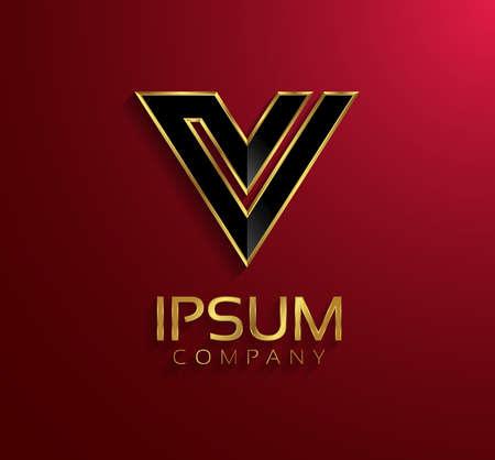 letter v: Beautiful vector graphic black alphabet with gold rim  letter V  symbol