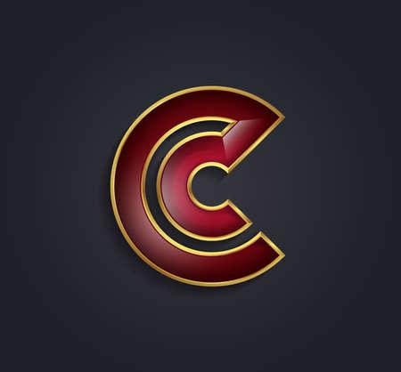rim: Beautiful vector graphic ruby alphabet with gold rim  letter C  symbol