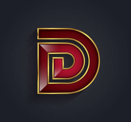 a d: Beautiful vector graphic ruby alphabet with gold rim  letter D  symbol