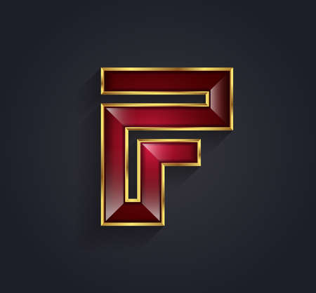 Beautiful vector graphic ruby alphabet with gold rim  letter F  symbol