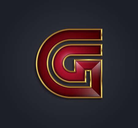 cerchione: Beautiful vector alfabeto rubino grafico con oro orlo  lettera G  simbolo Vettoriali
