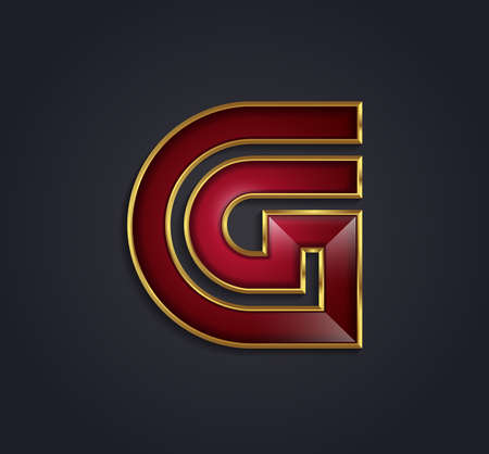 rim: Beautiful vector graphic ruby alphabet with gold rim  letter G  symbol