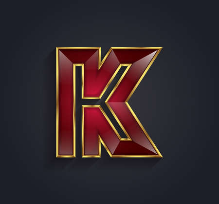 gold letters: Beautiful vector graphic ruby alphabet with gold rim  letter K  symbol
