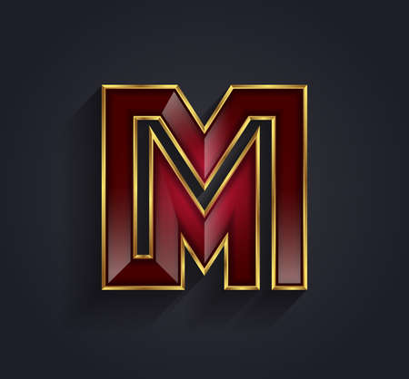 Beautiful vector graphic ruby alphabet with gold rim  letter M  symbol