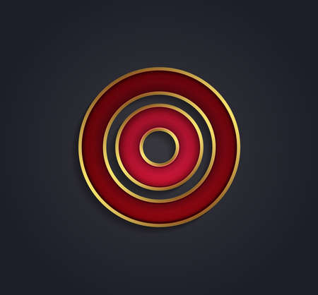 rim: Beautiful vector graphic ruby alphabet with gold rim  letter O  symbol Illustration