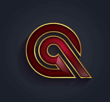 rim: Beautiful vector graphic ruby alphabet with gold rim  letter Q  symbol