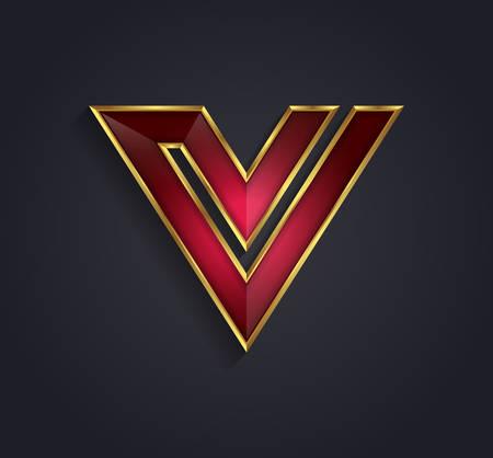 cerchione: Bella vettore rosso rubino grafica alfabeto con bordo oro  lettera V  simbolo