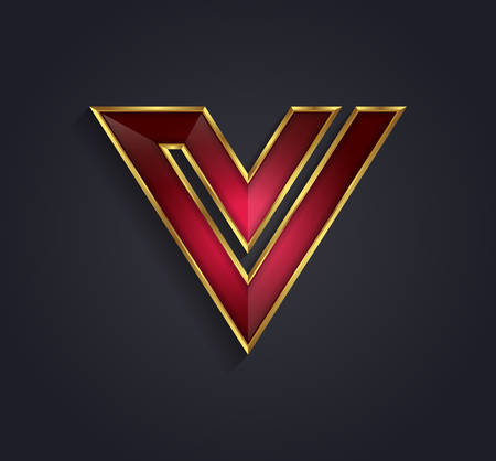 Beautiful vector graphic ruby alphabet with gold rim / letter V / symbol