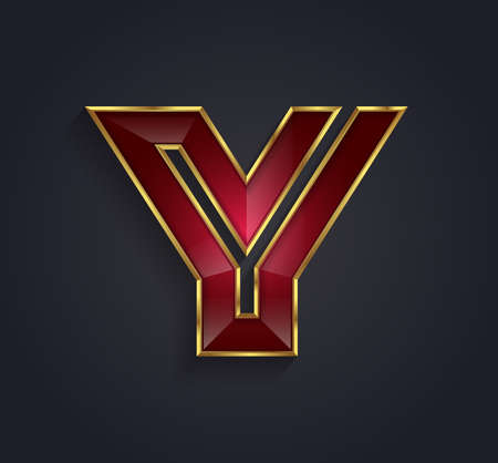 rim: Beautiful vector graphic ruby alphabet with gold rim  letter Y  symbol