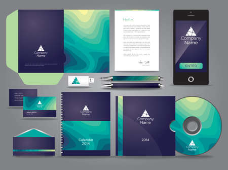 brand name: Liquid themed vector graphic business identity with mobile cds and pen
