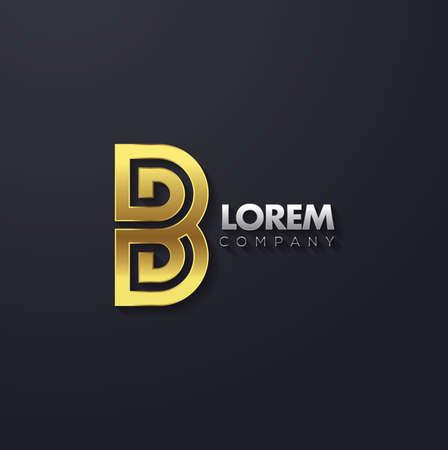Vector graphic golden square alphabet symbol with striped letter  Letter B Illustration