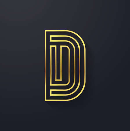 golden font: Vector graphic golden square alphabet symbol with striped letter or Letter D Illustration