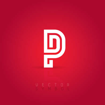 Vector graphic creative line alphabet symbol  Letter P Vector