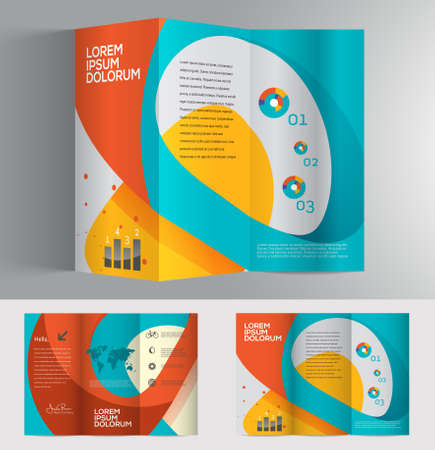 presentation template: Vector graphic elegant abstract business brochure design with spread pages Illustration