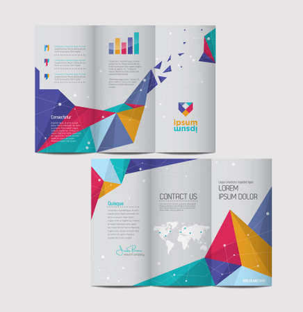 leaflet design: Vector graphic elegant abstract business brochure design with spread pages Illustration