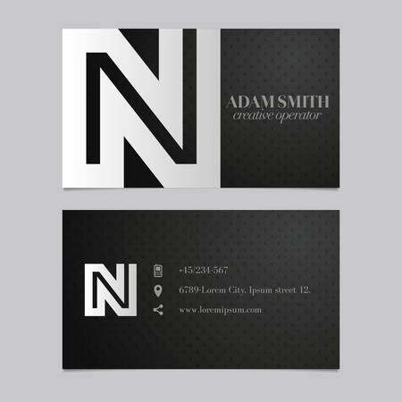 negative spaces: Elegant vector graphic business card with alphabet symbol  letter N Illustration