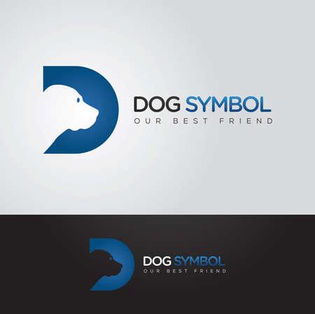 Eenvoudige en slimme vector grafische Hond en D brief symbool met voorbeeldtekst