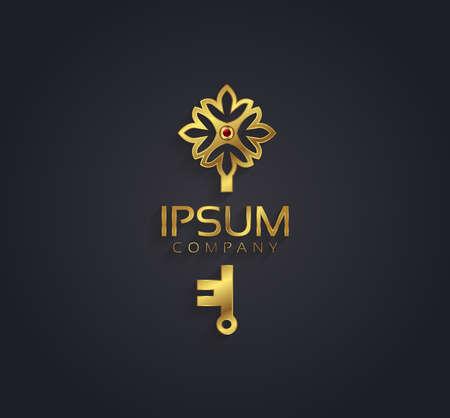 Vector grafische goud en robijn bloem  sleutel die gevormd symbool met voorbeeldtekst Stock Illustratie