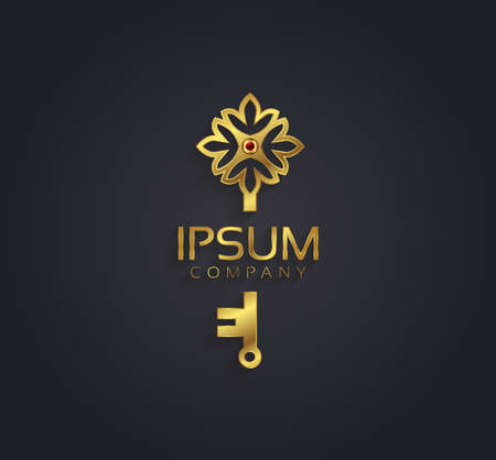 house logo: Vector graphic gold and ruby flower  key shaped symbol with sample text