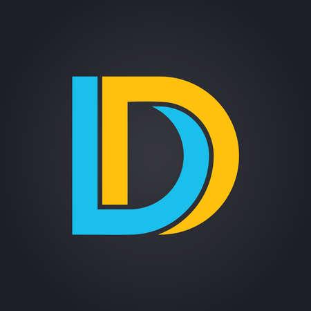 두 가지 색상  문자 D 벡터 그래픽 우아한 불가능 알파벳 기호
