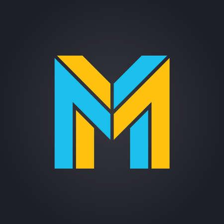 Vector graphic elegant impossible alphabet symbol in two colors . Letter M Illustration