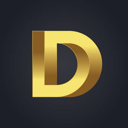 3d letters: Vector graphic gold alphabet . Impossible letter symbol . Letter D