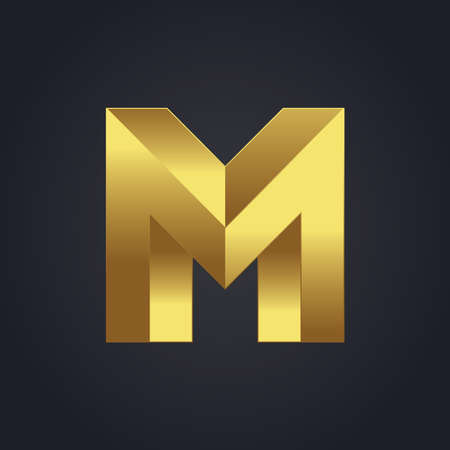 3d alphabet letter abc: Vector graphic gold alphabet . Impossible letter symbol . Letter M Illustration