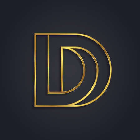 Vector graphic gold alphabet . impossible letter symbol . Letter D Illustration