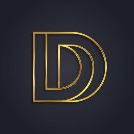 d': Vector graphic gold alphabet . impossible letter symbol . Letter D Illustration