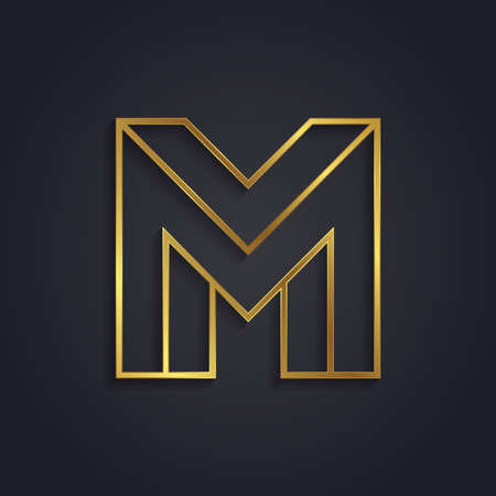 Vector graphic gold alphabet . impossible letter symbol . Letter M