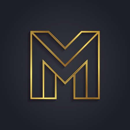 Vector grafische gouden alfabet. onmogelijk brief symbool. Letter M Stock Illustratie