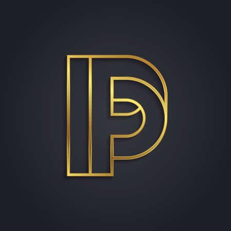 metallic letters: Vector graphic gold alphabet . impossible letter symbol . Letter P