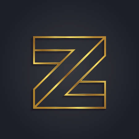 metal letters: Vector graphic gold alphabet . impossible letter symbol . Letter Z Illustration