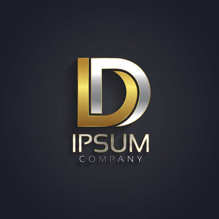Vector graphic elegant silver and gold impossible font .  Letter D