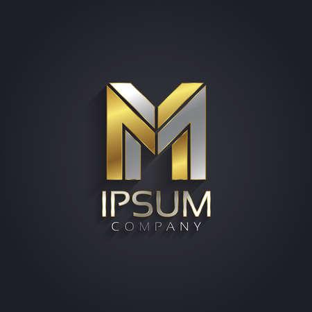 Vector grafische elegant zilver en goud onmogelijk lettertype. Letter M Stock Illustratie
