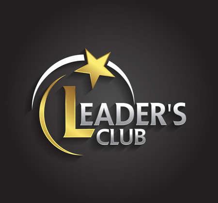 星の形をした会社のリーダーのシンボル ベクトル グラフィック銀と金