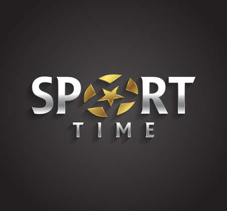 sport balls: Vector graphic SPORT text symbol with stylized star in positive and negative Illustration