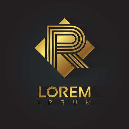 letter R: Vector graphic golden square alphabet symbol with striped letter . Letter R