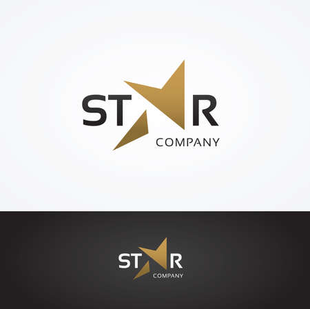 Vector graphic STAR text symbol with stylized star in positive and negative