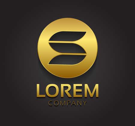 lettre s: Vecteur élégant symbole graphique de S dans le cercle d'or avec un exemple de texte pour votre entreprise